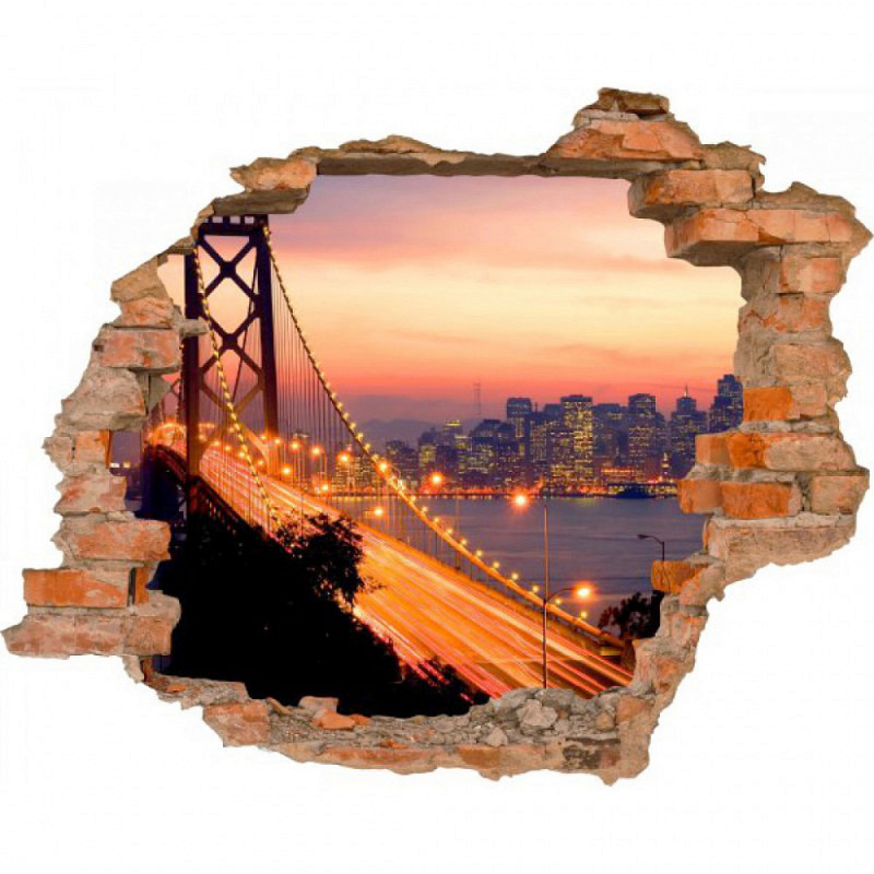 Wandsticker 3D-Optik Brooklyn Bridge
