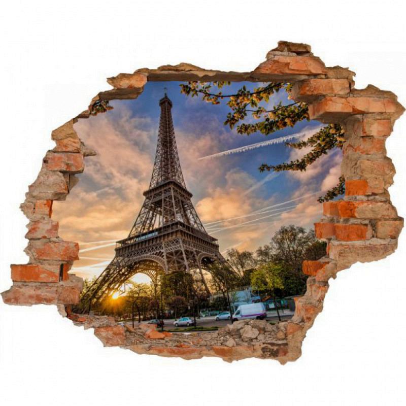 Wandsticker 3D-Optik Eiffelturm