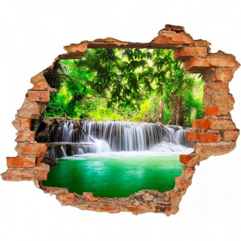 Wandsticker 3D-Optik Wasserfall