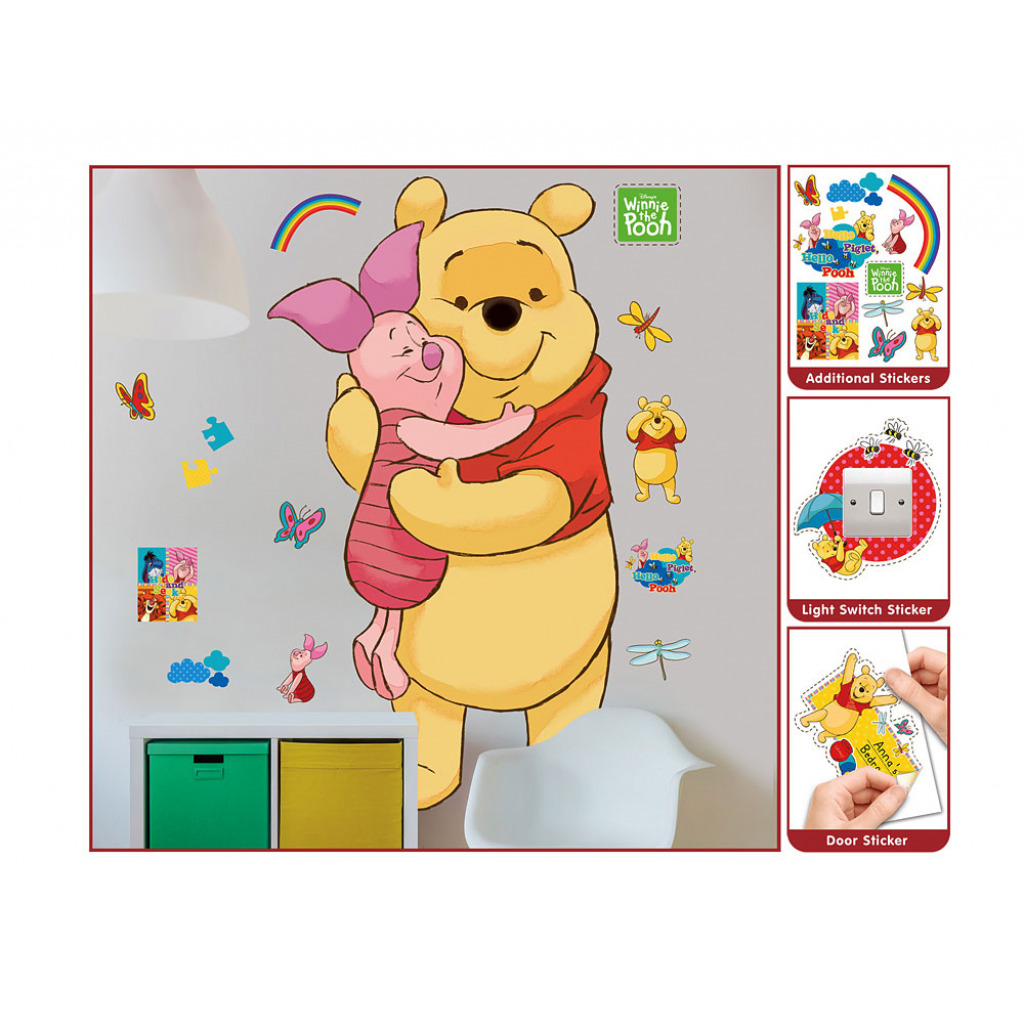 wandsticker babyzimmer kinderzimmer in 3d xl disney winnie the pooh ebay. Black Bedroom Furniture Sets. Home Design Ideas