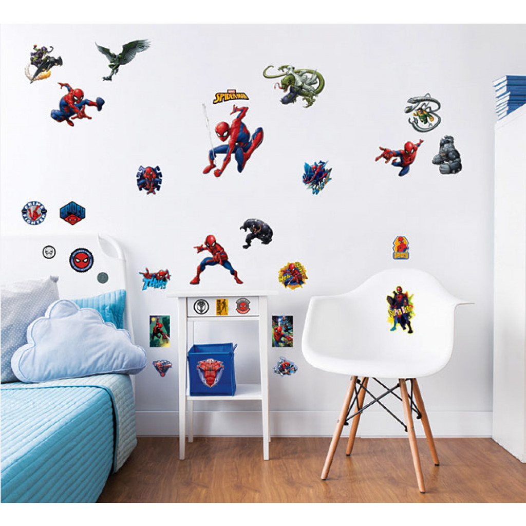 wandsticker spiderman marvel wandtattoo jungen kinderzimmer abl sbar dekoset ebay. Black Bedroom Furniture Sets. Home Design Ideas