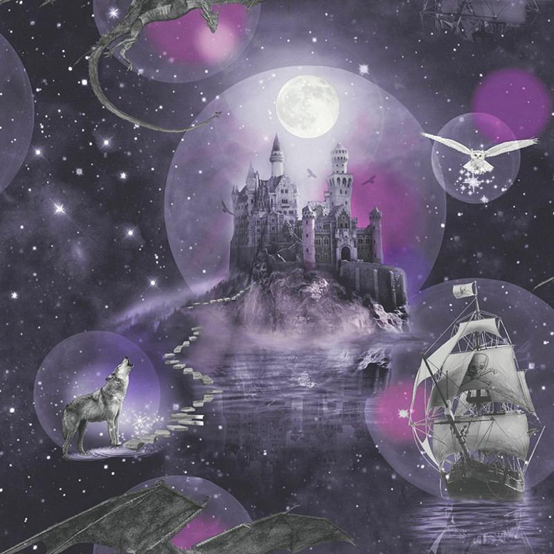 Tapete magisches Königreich purpur