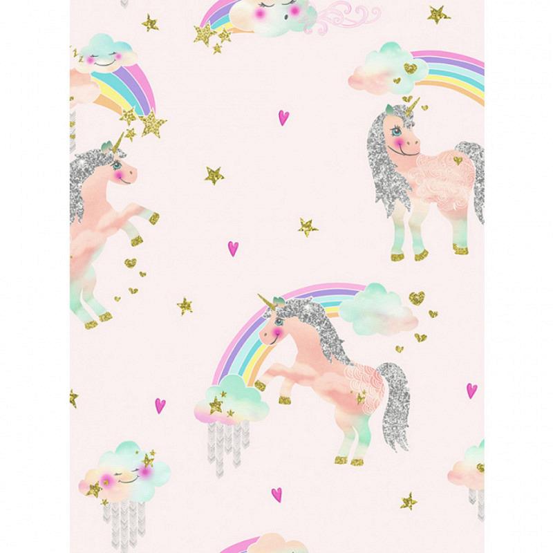 Tapete Einhorn Regenbogen weiss-hellrosa