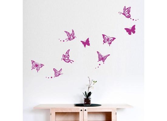 Wandtattoo Schmetterlinge floral violett-Wandtattoo Kinderzimmer