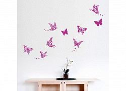 Wandtattoo Schmetterlinge floral violett