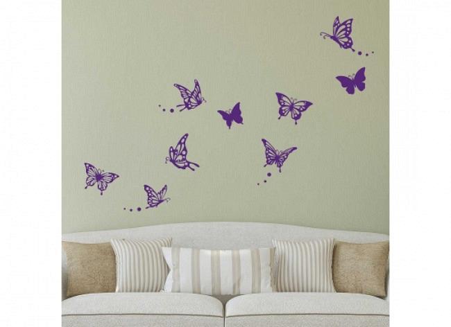 Wandtattoo Schmetterlinge floral purpur