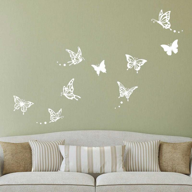 Wandtattoo Schmetterlinge floral weiß