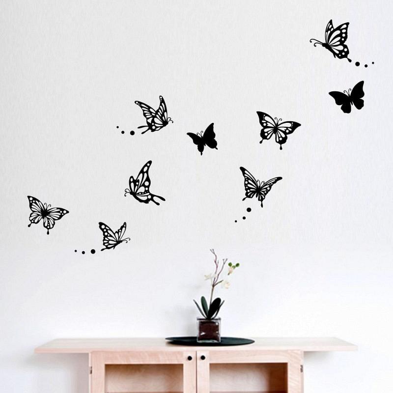 Wandtattoo Schmetterlinge floral schwarz
