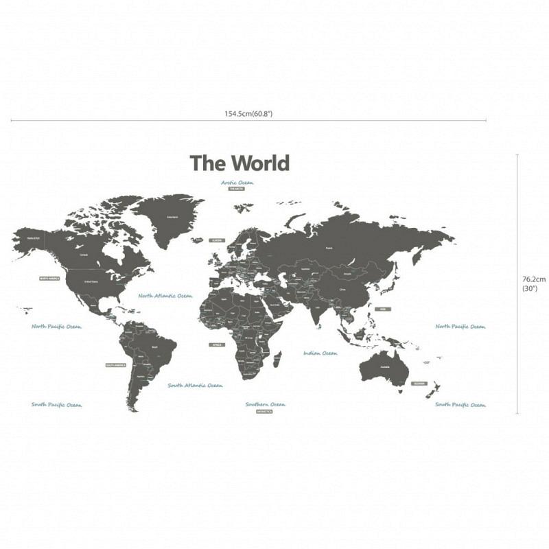 Wandsticker Weltkarte grau XXL