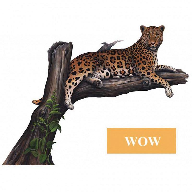 Wandsticker Dschungel Leopard auf dem Ast