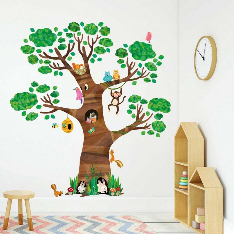 Wandsticker Baum Waldtiere 160 cm groß
