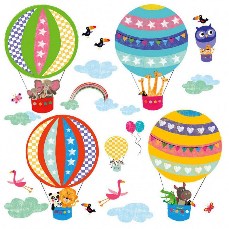 Wandsticker Ballonfahrt der Tiere