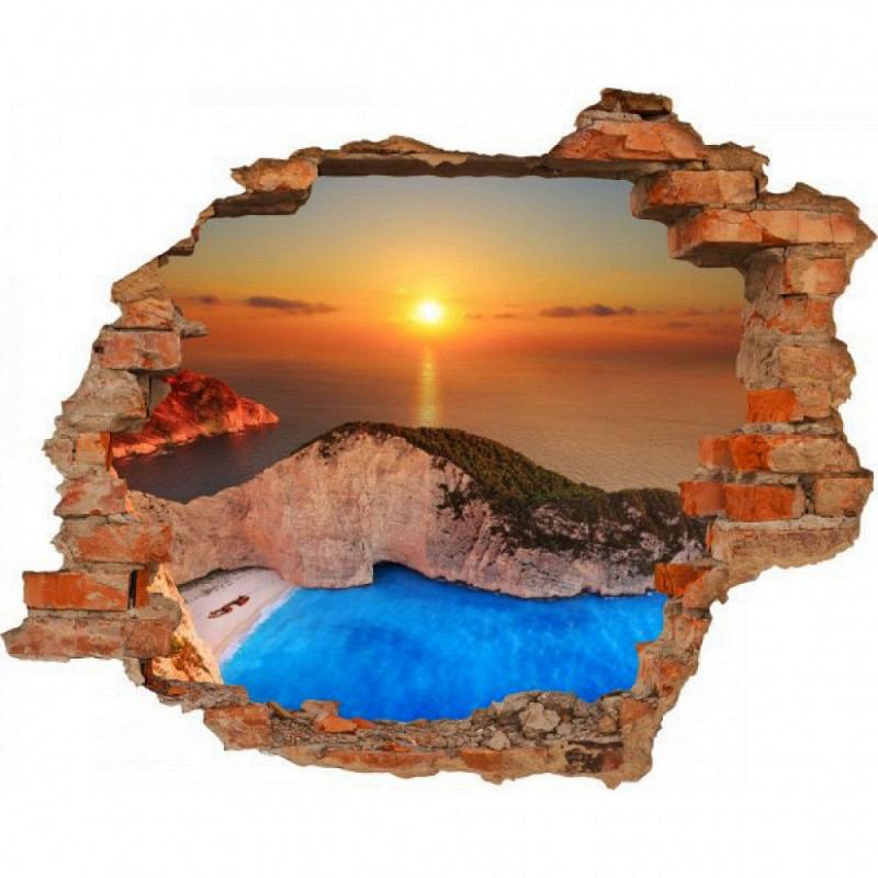 Wandsticker 3D-Optik Sonnenuntergang Meer