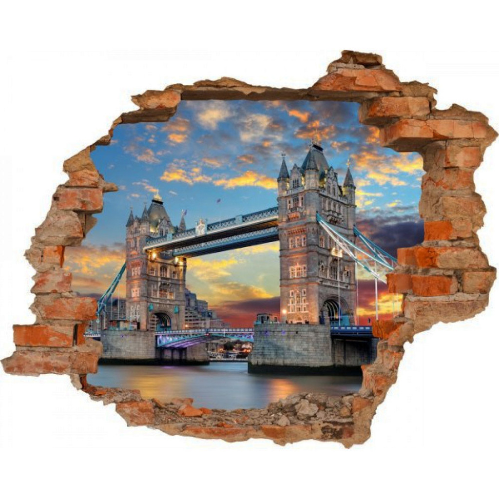 Wandsticker 3D-Optik Tower Bridge Breakthrough