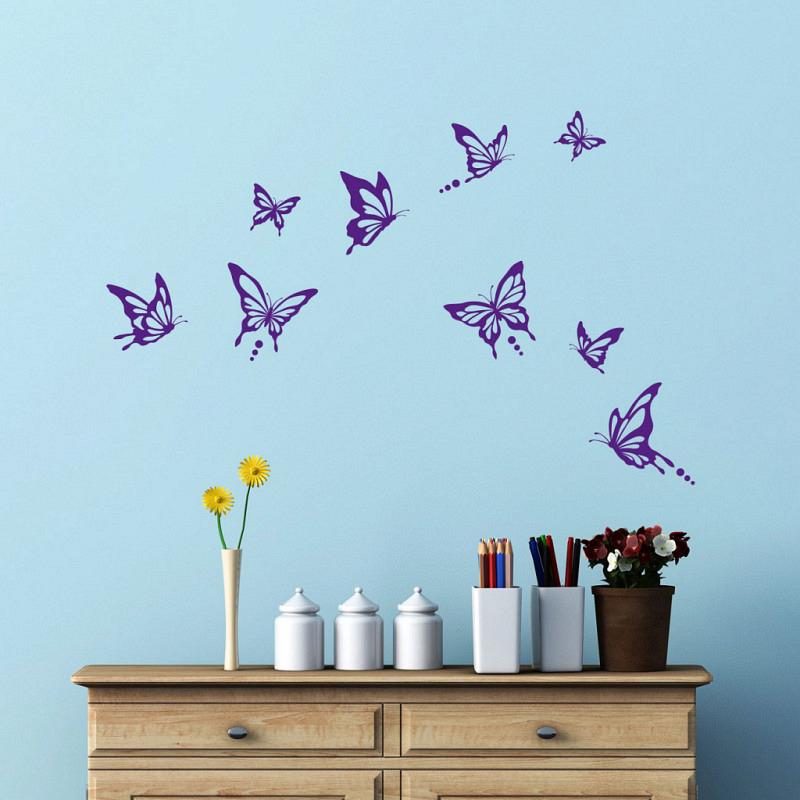 Wandtattoo Schmetterlinge modern purpur