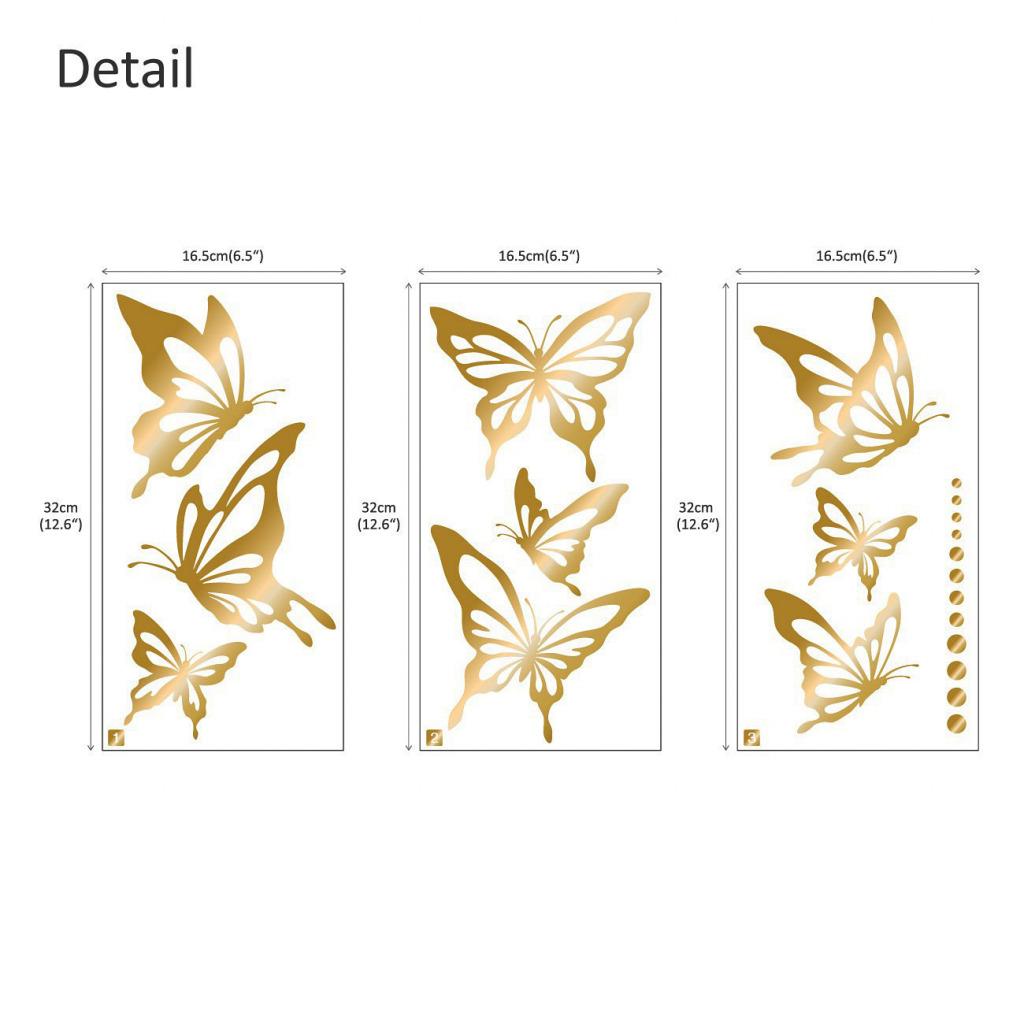Wandtattoo moderne Schmetterlinge gold Maße