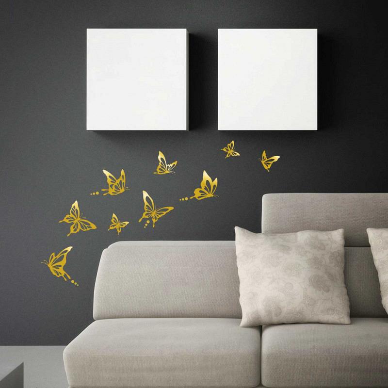 Wandtattoo Schmetterlinge modern gold