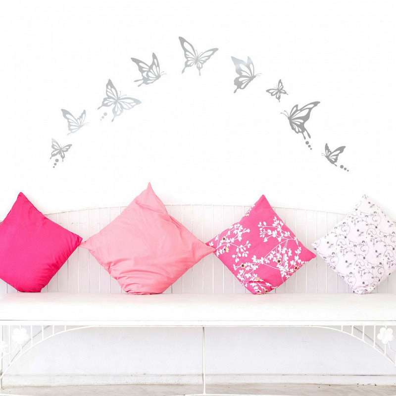 Wandtattoo Schmetterlinge modern silber
