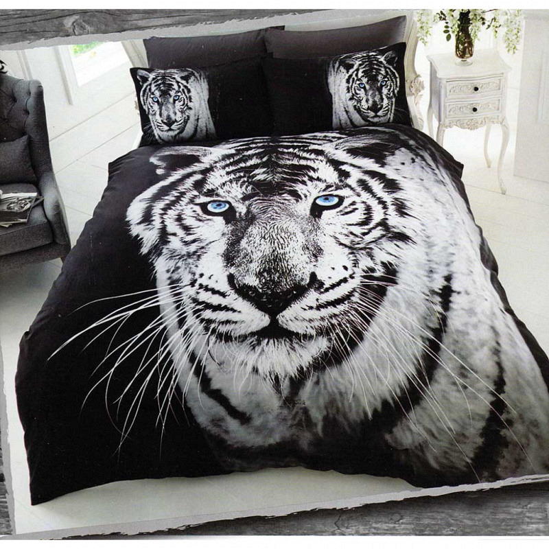 Bettwäsche weißer Tiger im Sprung