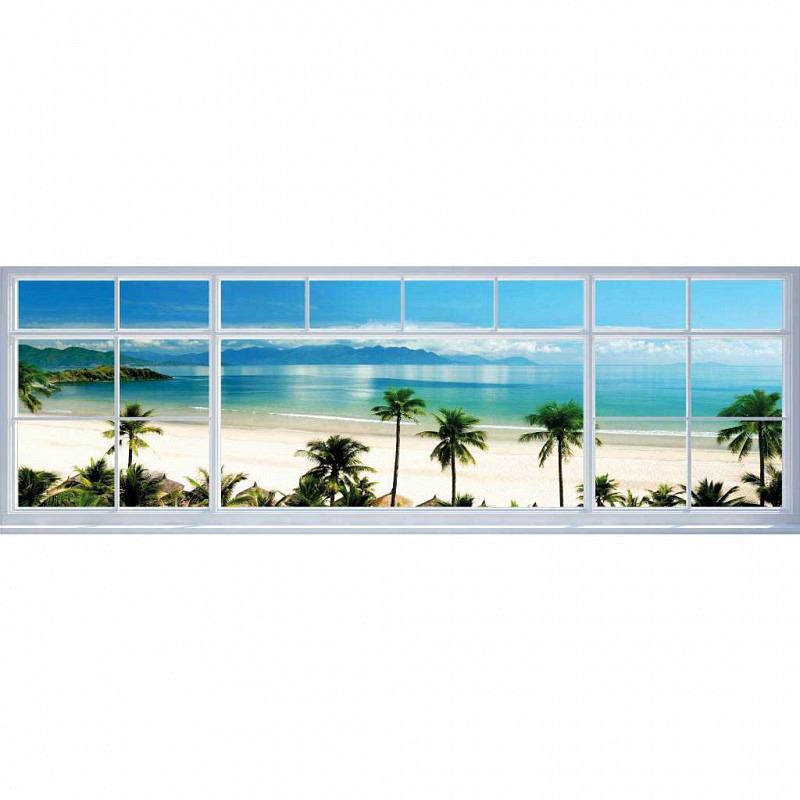 Wandbild Meerblick Strandfenster Panorama