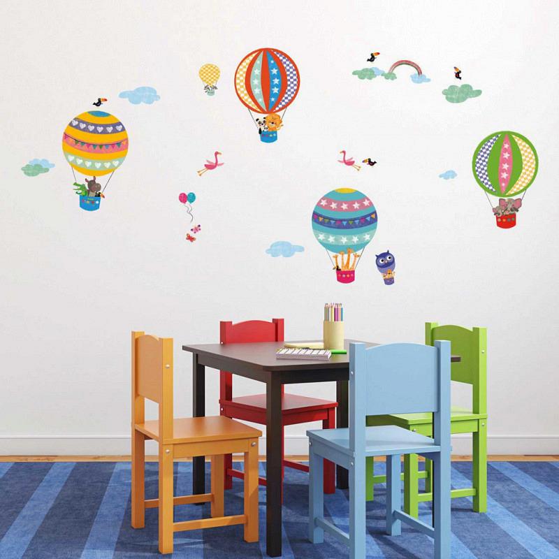 Wandsticker Tiere Heißluftballonfahrt