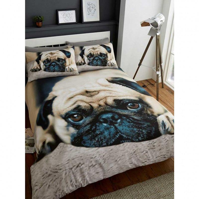Doppel-Bettwäsche Mops Hund 3D