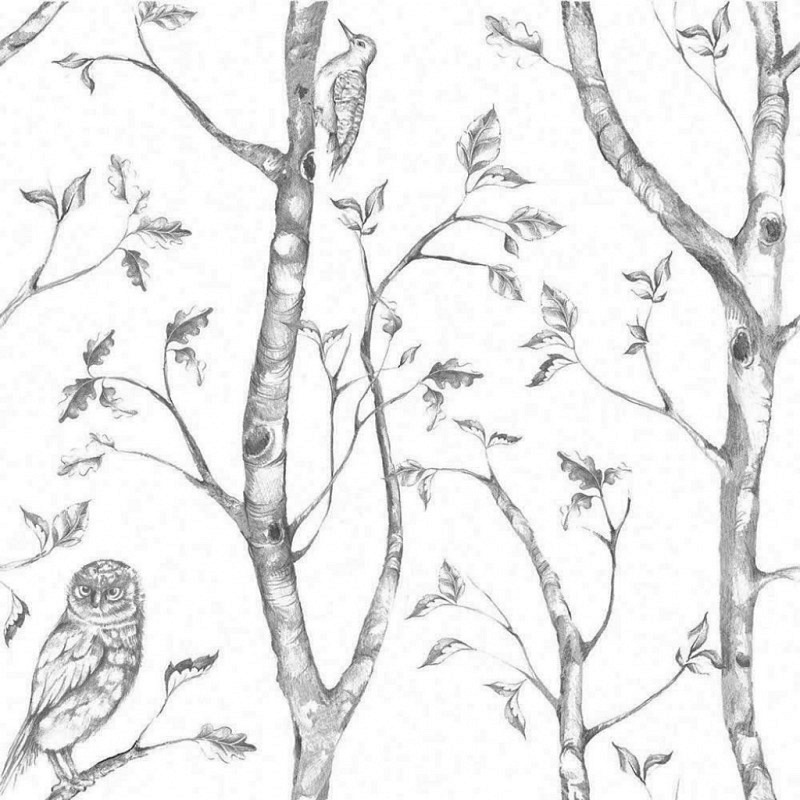 Tapete selbstklebend Wald grau