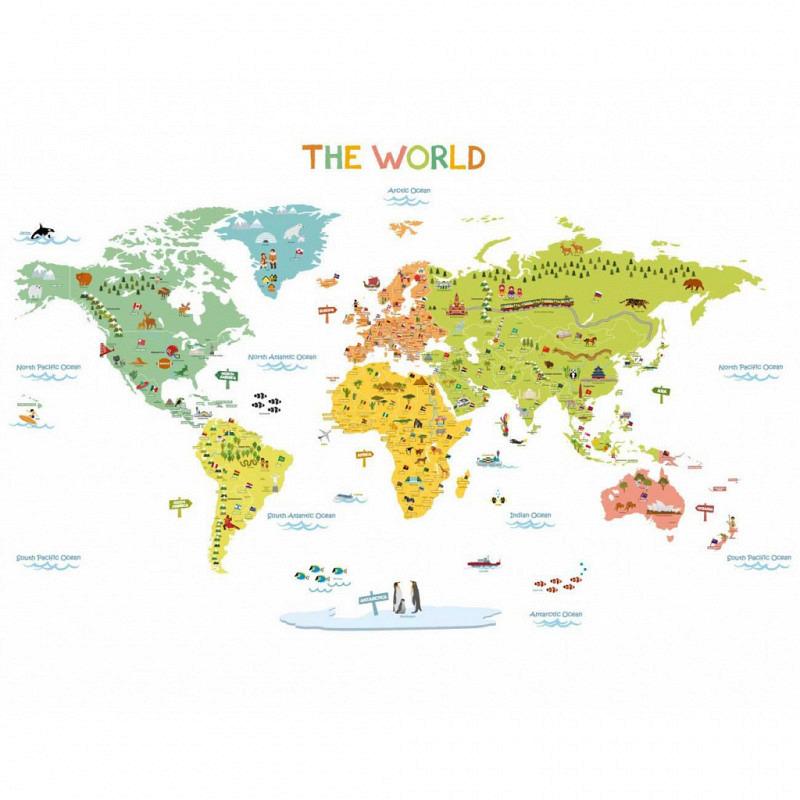 Wandsticker bunte Weltkarte klein