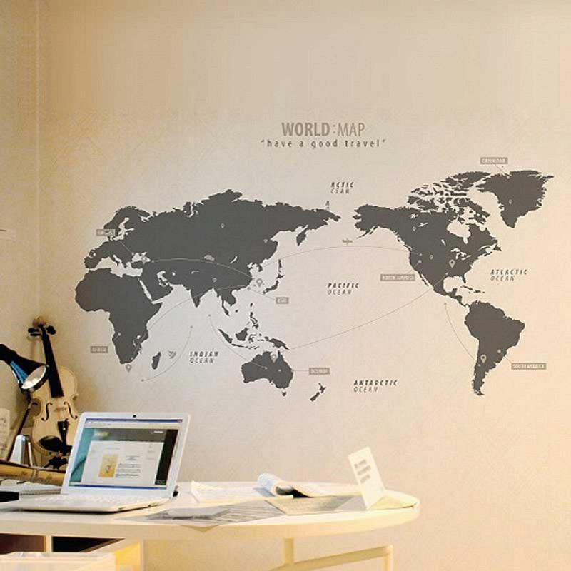 Wandtattoo Weltkarte Travel grau