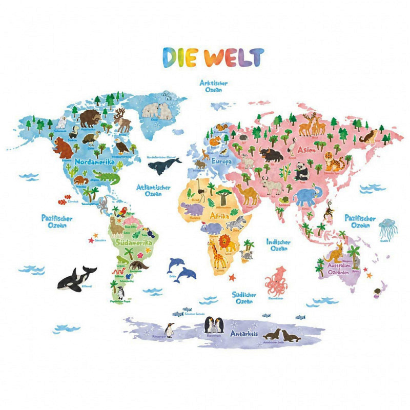 Wandsticker Tier Weltkarte deutsch klein