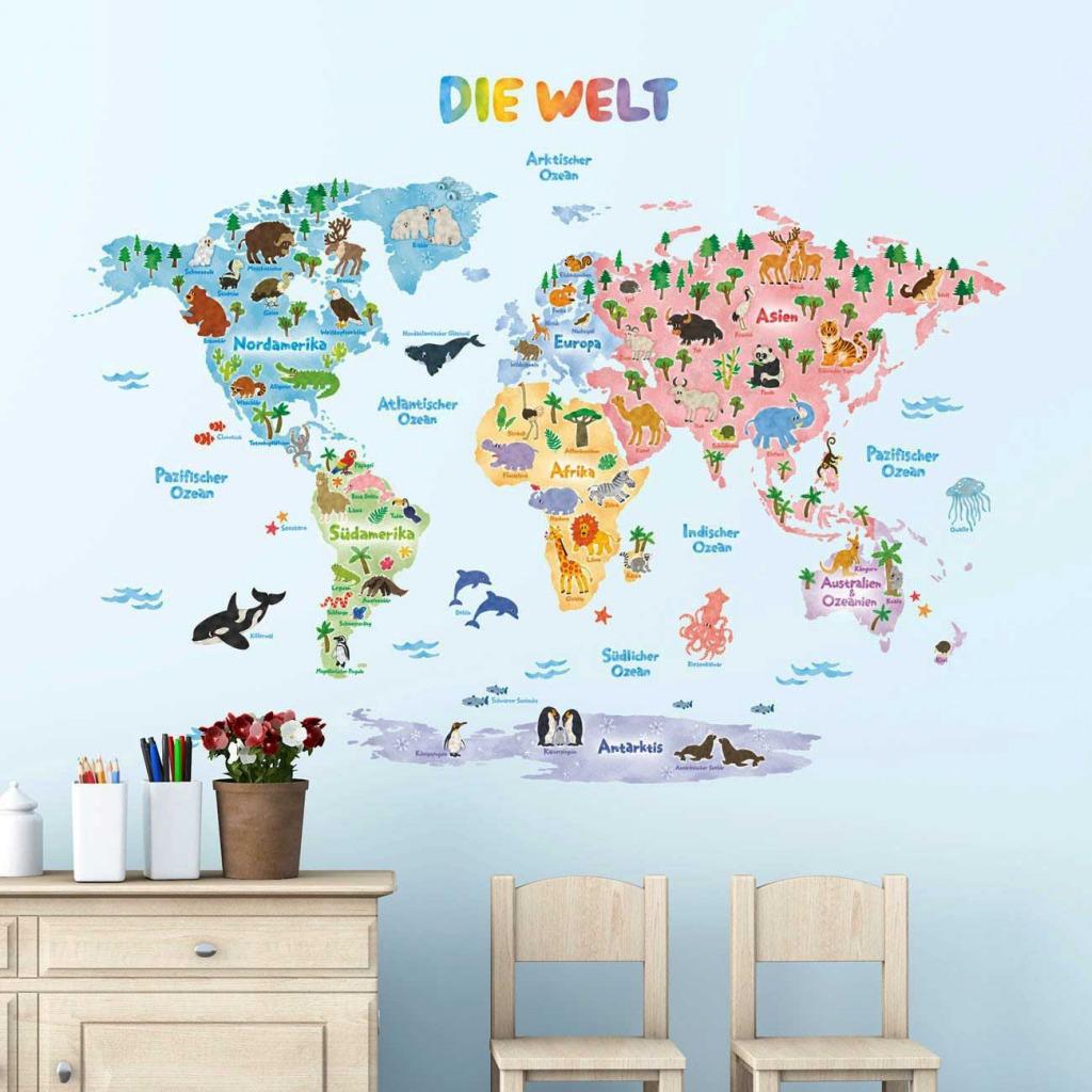 Wandtattoo Kinderzimmer Weltkarte Deutsch Lernen Stadte Lander Tiere Wandsticker Ebay