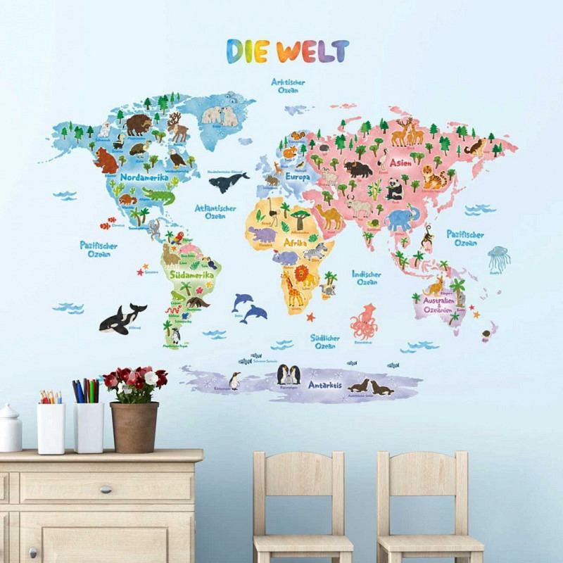 Wandsticker Tier Weltkarte deutsch XLarge