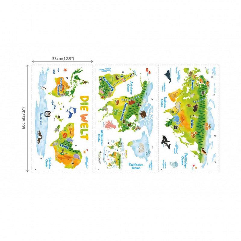 Wandsticker Weltkarte Tiere deutsch