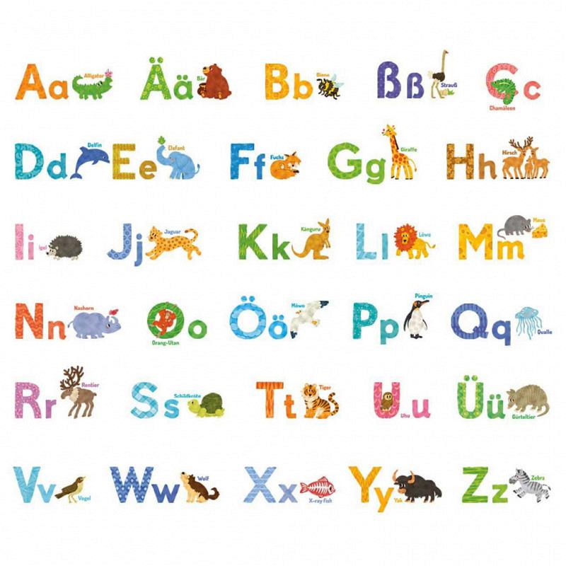Wandsticker Tier-Alphabet Aquarell deutsch