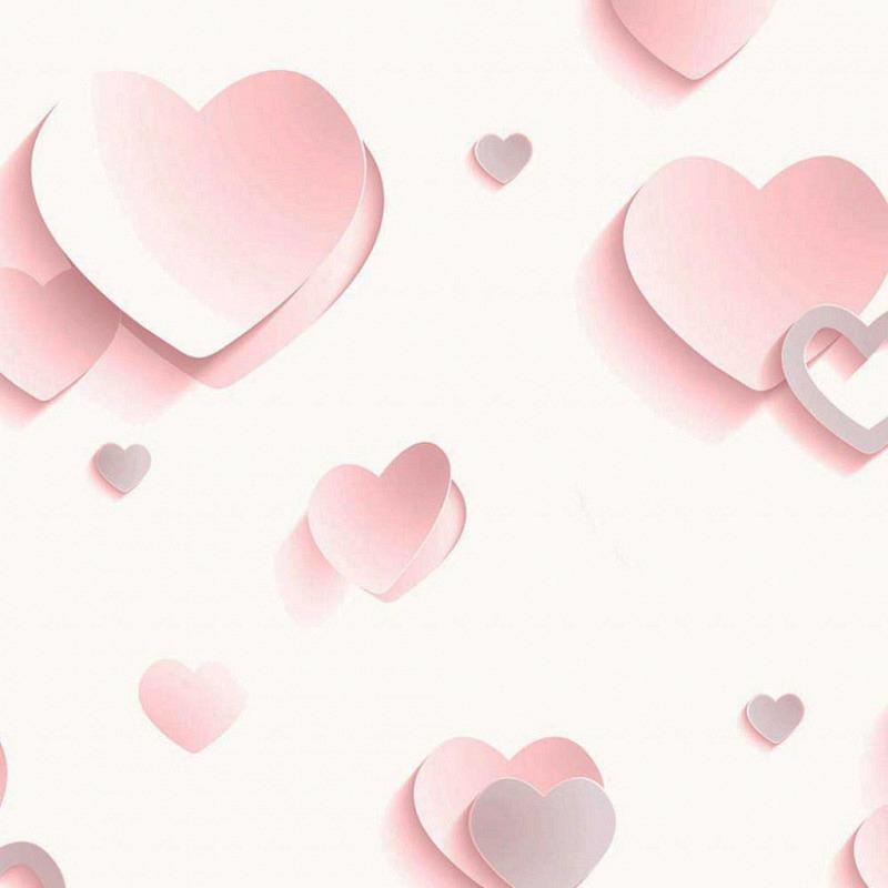 Tapete 3D Herzen pink