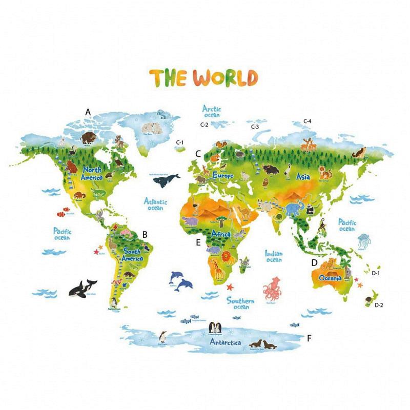Wandsticker Weltkarte Tiere XXL