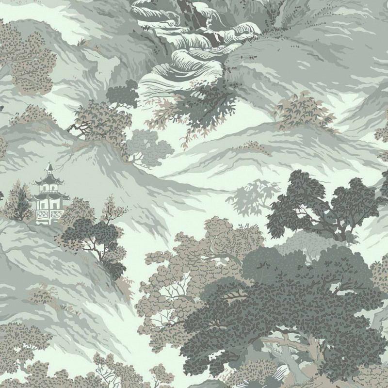 Tapete orientalische Landschaft blau-grün