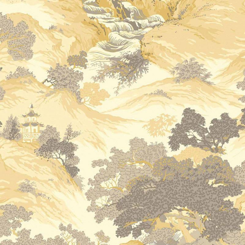 Tapete orientalische Landschaft gelb