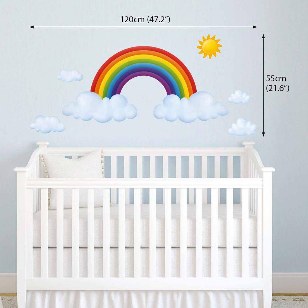 Wandsticker Regenbogen Babyzimmer Dekogröße