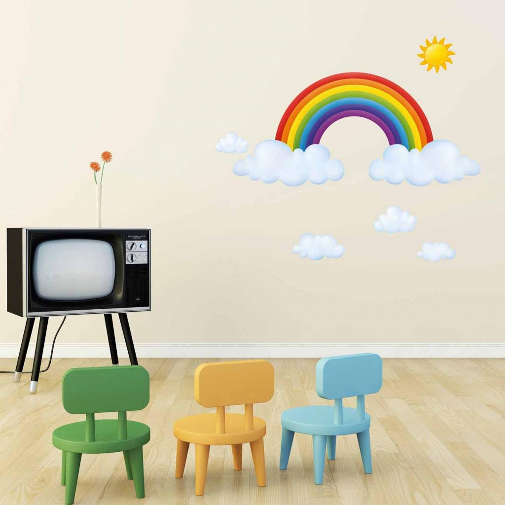 Wandsticker Regenbogen Babyzimmer Kindergarten