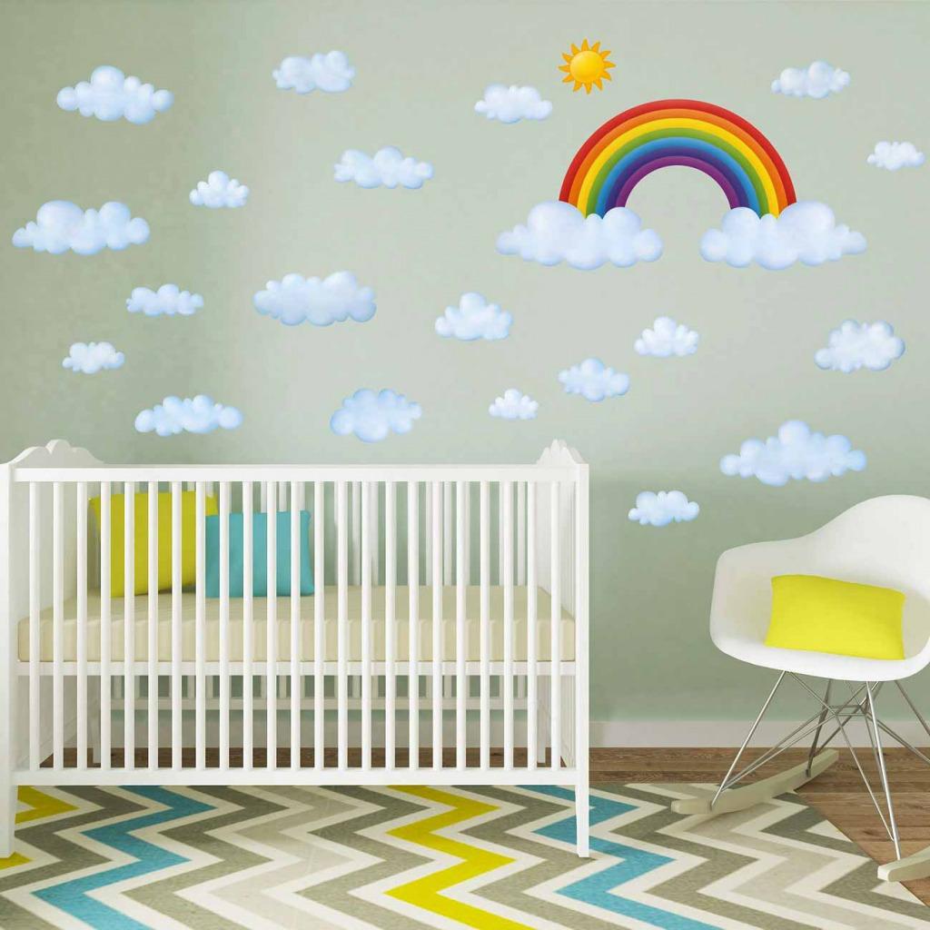 Wandsticker Regenbogen Wolken Babyzimmer