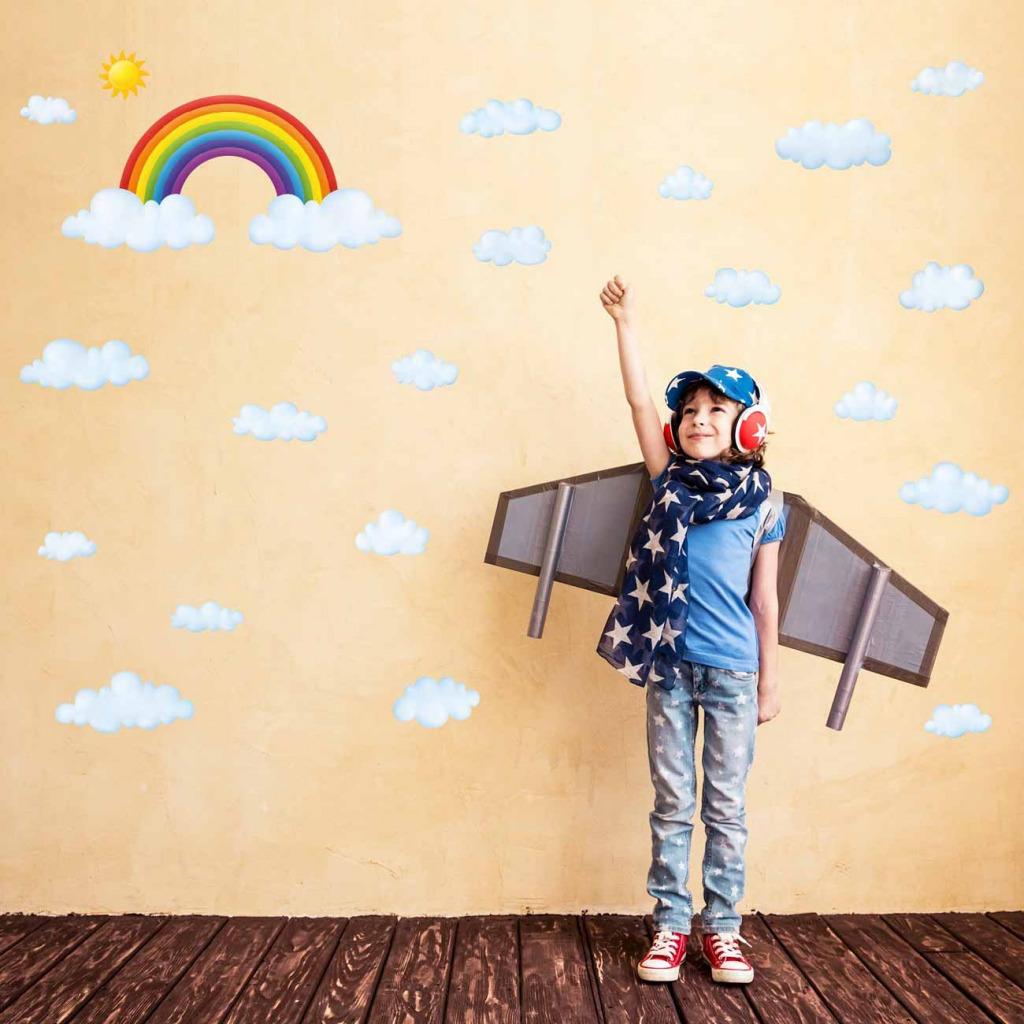 Wandsticker Regenbogen Wolken Kinderzimmer