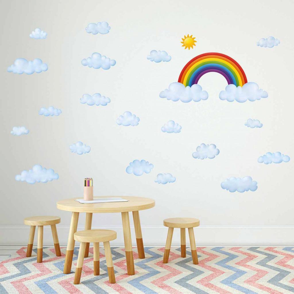 Wandsticker Regenbogen Wolken Kindergarten