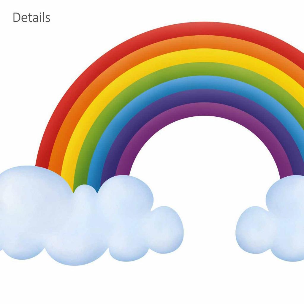 Wandsticker Regenbogen Wolken Details