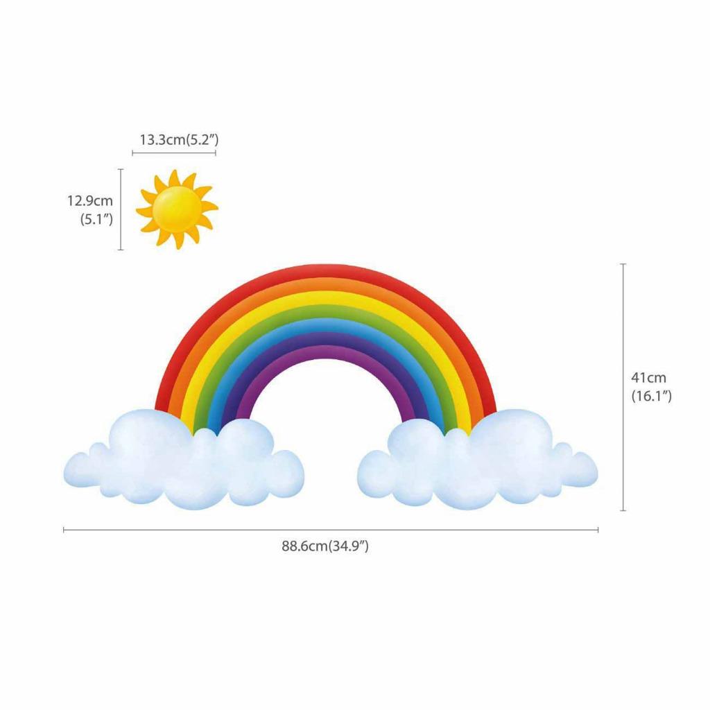 Wandsticker Regenbogen Wolken Maße