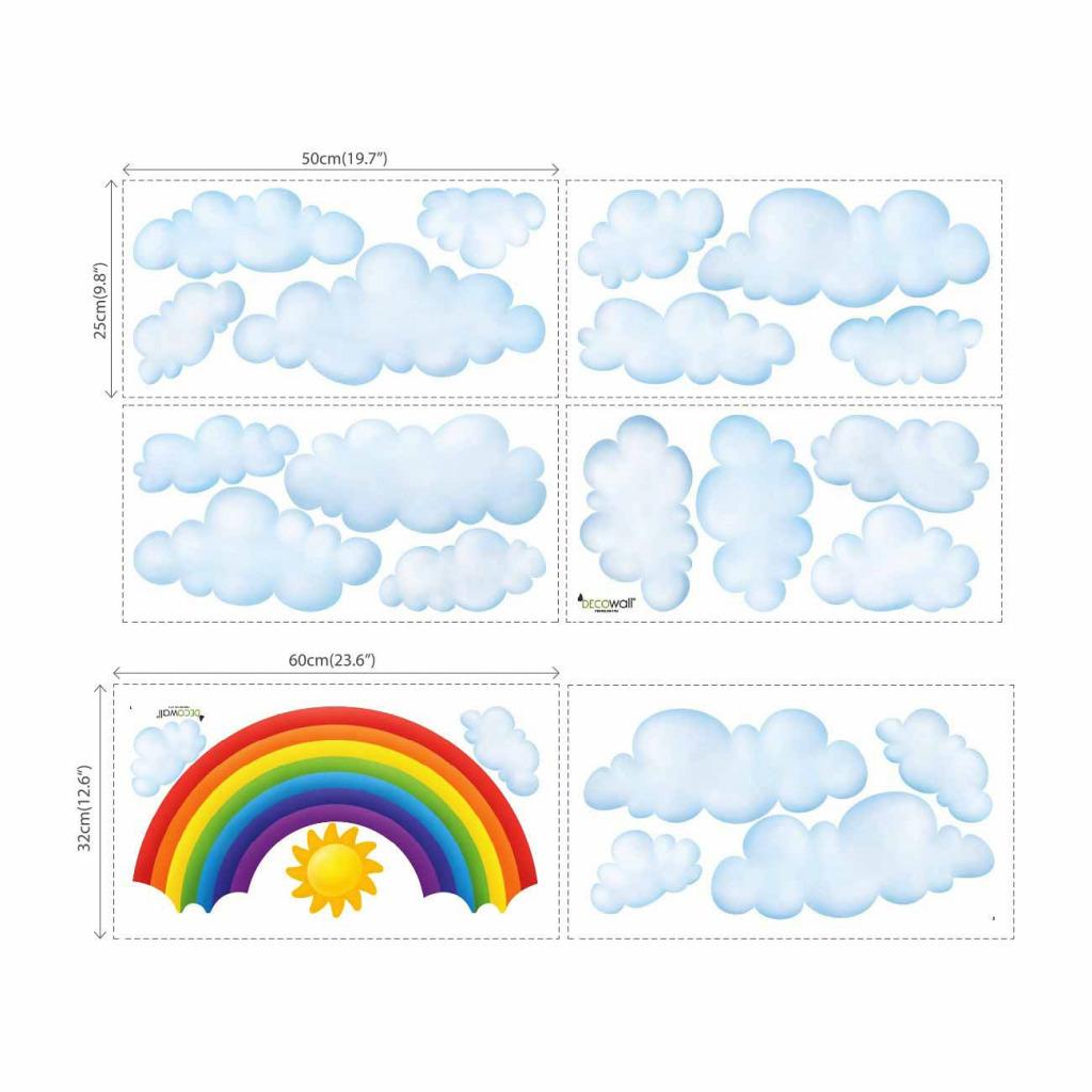 Wandsticker Regenbogen Wolken