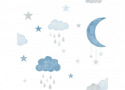 Ökotapete Wolken Mond blau