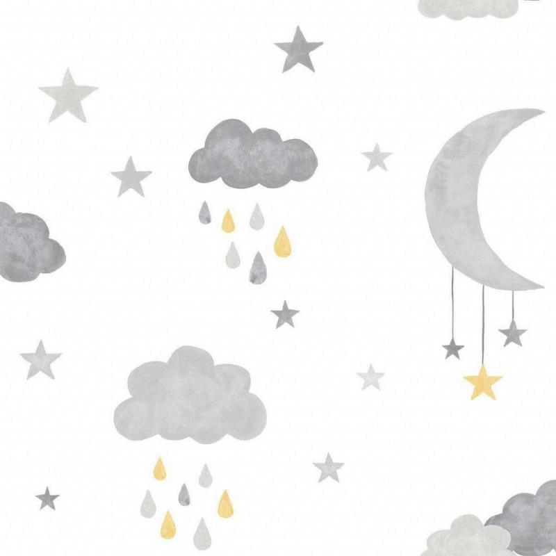 Ökotapete Wolken Mond gelb