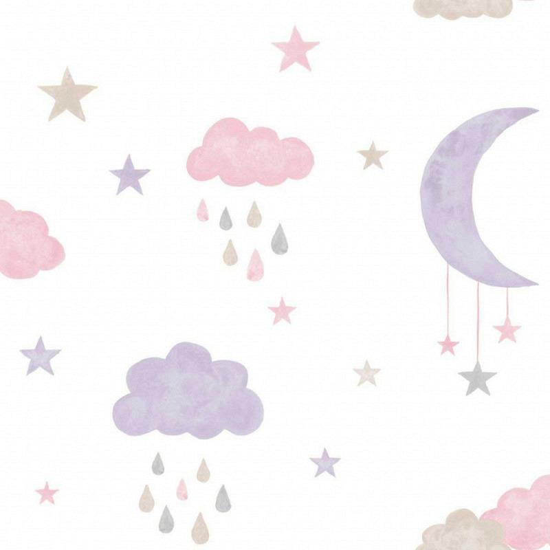 Ökotapete Wolken Mond pink