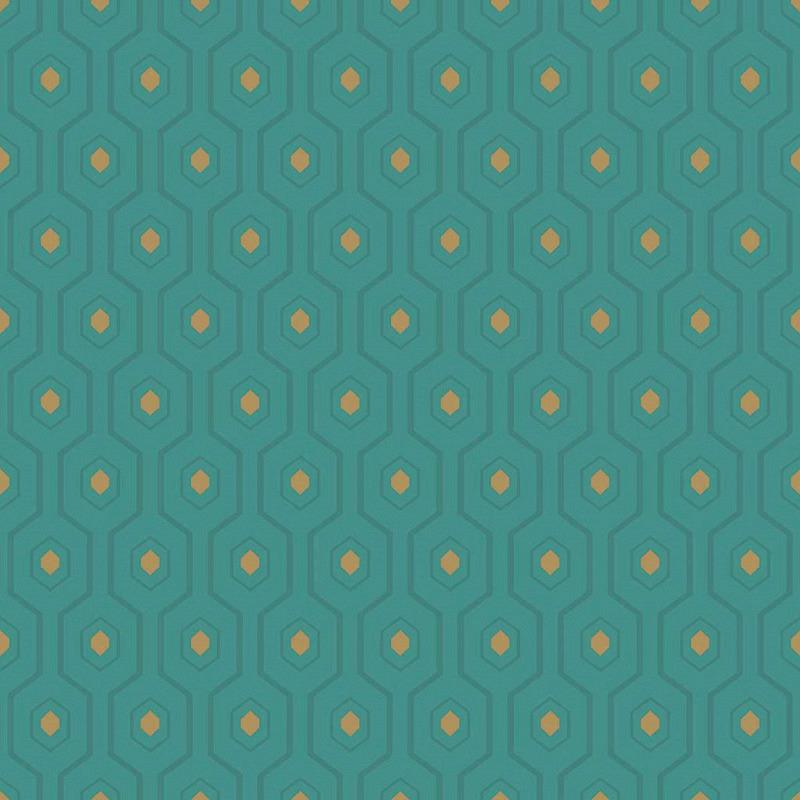 Vliestapete Ashton Geometrie grün gold